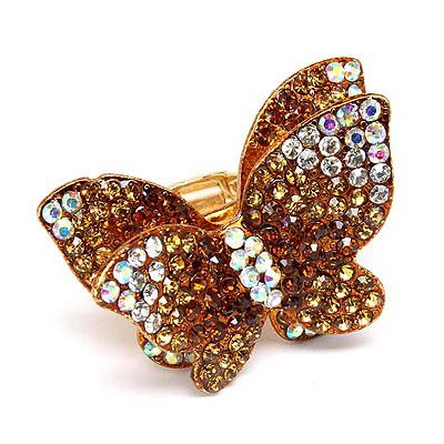 Beautiful Butterfly Crystal Pave Stretch Ring Brown
