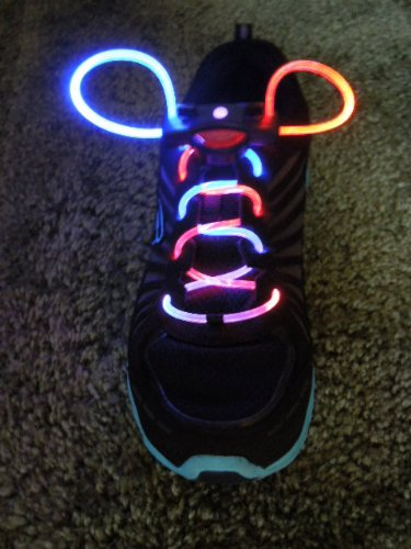 rave clothing, Rainbow multi-color Led fashion Flashing Shoelaces