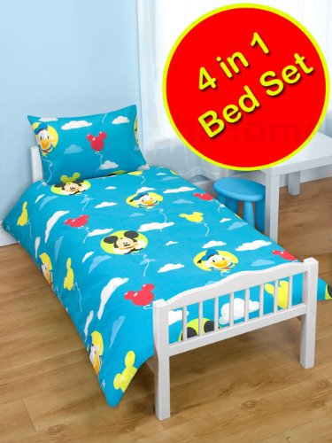 Mickey Mouse 'Puzzled' 4 in 1 Junior Rotary Bed Set (Duvet + Pillow + Covers)