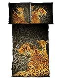 2 tlg Bettwäsche 135 x 200 cm Leopard schwarz Microfaser Garnitur
