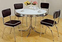 Hot Sale 5pc White & Chrome Retro Round Table & Black Chairs Set