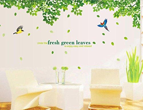 pvc-trasparente-pellicola-soggiorno-camera-da-letto-wall-stickers-uccelli-e-foglie