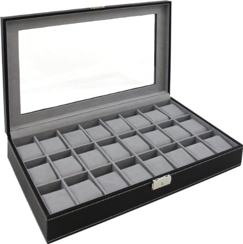 Watch Box Large 24 Mens Black Leather Display