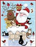 Caspari Entertaining with Caspari Christmas Advent Calendar Cards, Santa and Pets