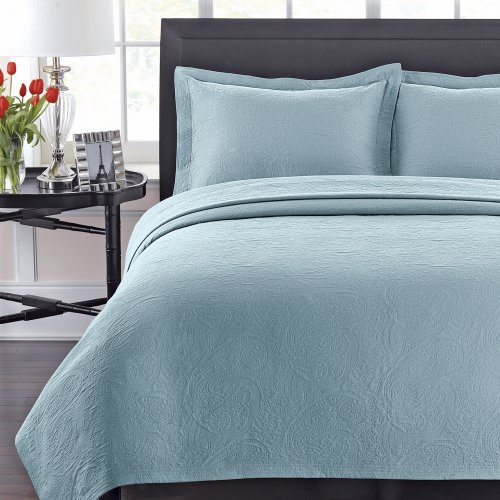 Lamont Home Simone Coverlet, Full/Queen, Silver Blue front-990645