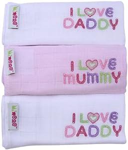Minene - Gasas para bebés, diseño I Love Mummy/ I Love Daddy, color blanco con motivos rosa (3 unidades) de MindManager