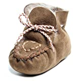 Brubaker Baby Sheepskin Moccasins Love Heart Embroidery Fur Lined Brown UK Size 4 12 to 18 months