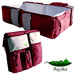 Premium 3 in 1 Diaper Bag, Travel Bassinet and Portable Changing Station, Easily Convertible to Infant Travel Bed or Baby Napper- Red