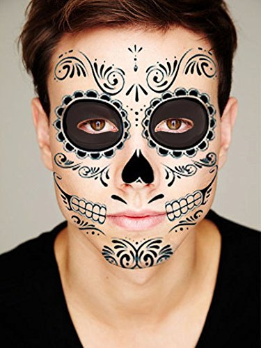 [Sugar Skull Temporary Face Tattoo - Skull Face - Day of the Dead - Calavera - Halloween Costume] (Halloween Costumes 03)