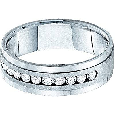 0.53 Carat (ctw) 14K White Gold Round White Diamond Mens Machine Set Wedding Band 1/2 CT