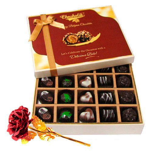 Valentine Chocholik's Belgium Chocolates - Delicious Dark And Milk Chocolate Box With 24k Red Gold Rose