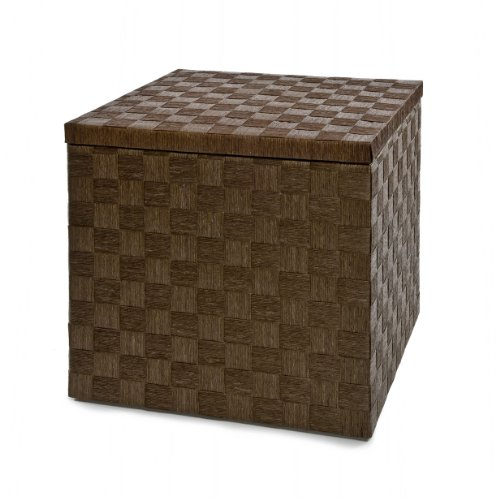 Seville Classics Woven Storage Cube Ottoman with Bamboo Tray