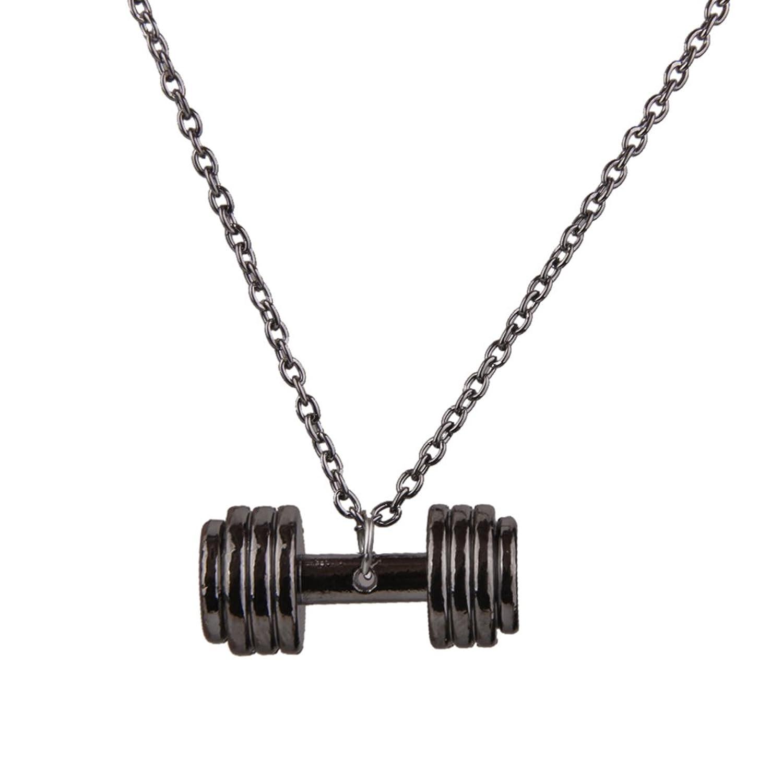 Imported Fashion Unisex Fitness barbell design Pendant Necklace Chain -Gun Black