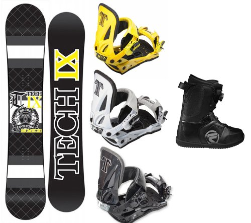 Technine IX Flat Black Snowboard Complete Package with Split T Bindings and Flow Vega BOA Men's Boots Board Size 159