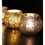 TiedRibbons® Gifts For Diwali T Light Holders Set Of 2(Glass, Multicolor) With Tealight Candles
