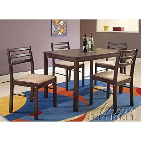5pc Casual Dining Table & Chairs Set in Espresso Finish