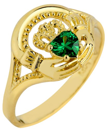 10K Gold Claddagh Ring with Emerald Parent