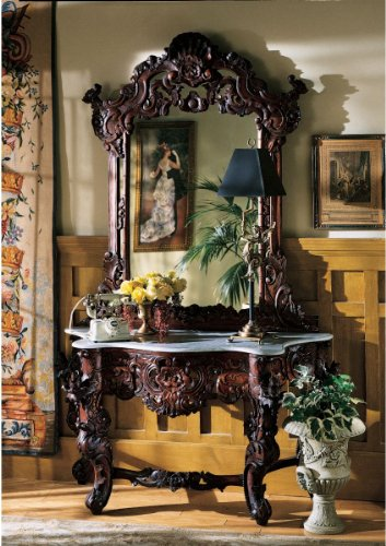 Cheap Hand-carved Solid Mahogany Antique Replica Hapsburg Mirror Topped Console Table (GR2232)