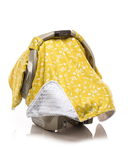 Elonka Nichole Baby Girl Car Seat Canopy, Yellow Flower Branches