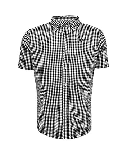 Lonsdale Men´s Slim-fit Short Sleeve Button Down Shirt Black White (Medium (M) Slim-Fit) (Mod Clothing compare prices)