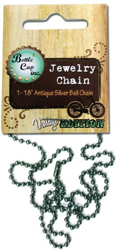 Bottle Cap Inc 2mm Ball Chain Necklace, Antique Silver