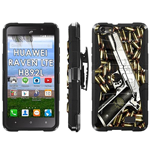 Huawei Raven LTE H892L Phone Cover, Punisher Hand Gun- Blitz Hybrid Armor Phone Case for [Huawei Raven LTE H892L] with [Kickstand and Holster] by Mobiflare
