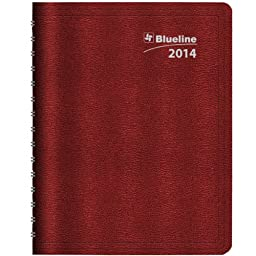 Blueline DuraGlobe Monthly Academic Planner, July 2013 - August 2014, Twin-Wire Binding, Soft Red Cover, 11 x 8.5 Inches, 1 Planner (CA235.23T-14)