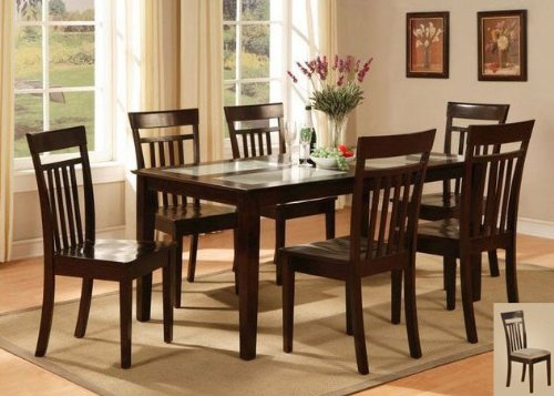 Cheap East West Furniture C7G-CAP-C Capri 7PC set with Tempered Frosted Glass Top Table and 6 microfiber upholstered seat chairs (C7G-CAP-C)
