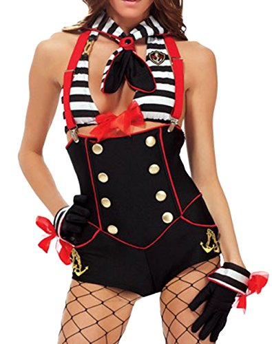 ZLMDS Women's Sexy Six Piece lingerie Pirate Halloween Cocktail Cosplay Costume Black