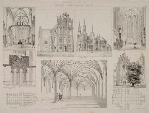 1870 German Scandinavian Church Architecture Lithograph - ORIGINAL - Original Lithograph