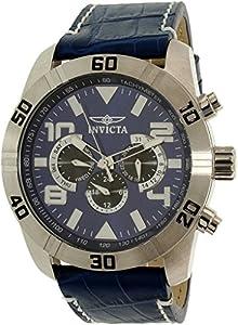 Invicta Men's Pro Diver 21475 Blue Leather Swiss Chronograph Watch