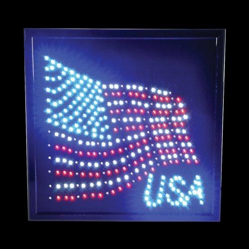 "Rhode Island Novelty 14 X 18"" American Flag Led Lighted Sign"