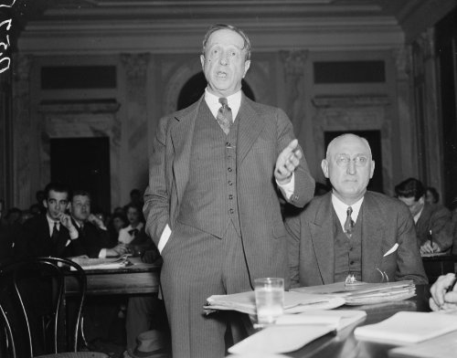 1937 photo At Civil Liberties hearing. Washington, D.C. Jan. 14. Borden Burr, Counsel for the Tennes