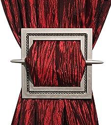 Decorative Curtain Holdbacks Set of 2, Curtain Tiebacks, Shining Square, 6\