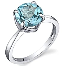 buy Sublime Solitaire 2.25 Carats Swiss Blue Topaz Ring In Sterling Silver Rhodium Nickel Finish Size 6