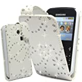 GLITZY GIZMOS WHITE GLITTER PU LEATHER CASE COVER POUCH FOR SAMSUNG CHAT CH@T335 S3350