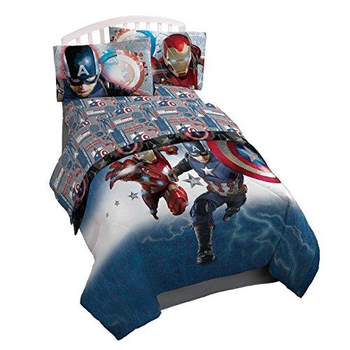 Marvel Captain America 'Civil War' Twin 3 Piece Sheet Set (Spiderman Vs Captain America compare prices)
