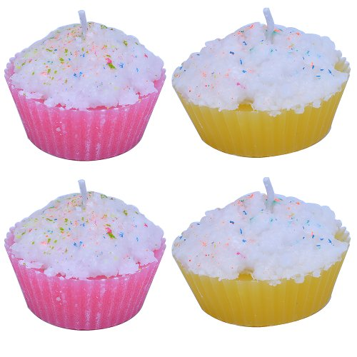 Wax Candles Of Love Multicolor Cupcake Scented Wax Candle Set Of 4