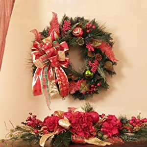 Christmas Ornament Wreath and Hydrangea Table Swag Set