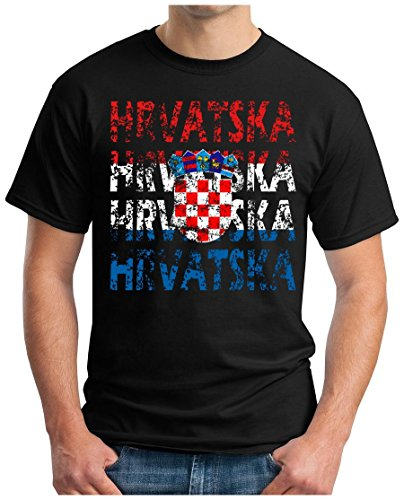 OM3 – HRVATSKA – T-Shirt CROATIA EM 2016 FRANKREICH FRANCE FUSSBALL FANSHIRT SOCCER CUP SPORT TRIKOT EUROPAMEISTER, XL, schwarz