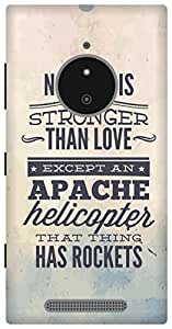The Racoon Lean Apache Helicopter hard plastic printed back case/cover for Nokia Lumia 830