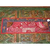 Ethnic India Red Beaded Antique Wall Hanging Sari Tapestry Table Runner