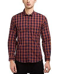 Highlander Men's Casual Shirt (13110001479759_HLSH008990_Small_Navy Blue)