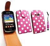 Emartbuy ® Stylus Pack Para Samsung S6500 Galaxy Mini 2 Premium Pu Funda De Cuero Flip / Cubierta / Funda Lunares Hot Pink / White Metallic Mini + Hot Pink Stylus + Protector De Pantalla