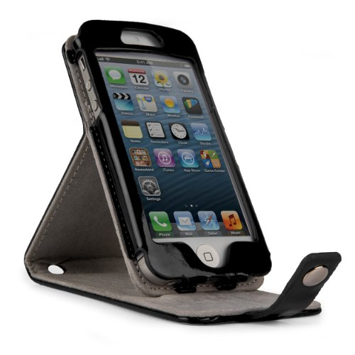 New Candy Patent Leather Flip Pouch Holder w/ Integrated Level Stand for Apple iPhone 5 - JET BLACK