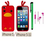 Apple Iphone 5S or Apple Iphone 5 Accessories - Premium Cute Animal Design Soft Protector Cover Case + 3.5MM Stereo... by WAM Apple Iphone 5S / Iphone 5