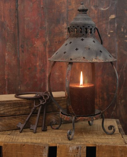 Primitive Decor Rustic Table Lantern-Antique Rust