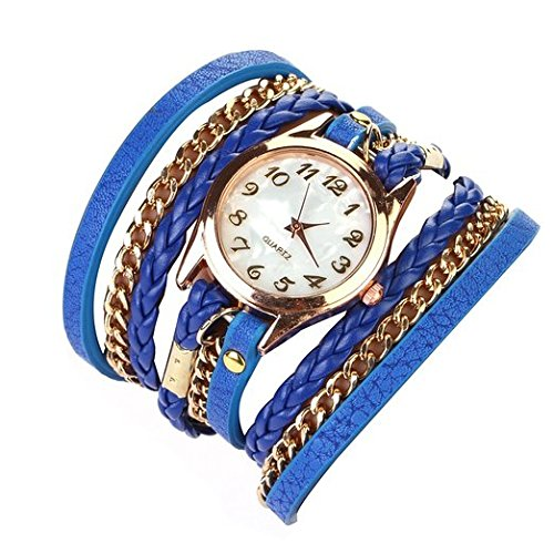 Habors Multiband Classic Watch Blue Bracelet With Chains