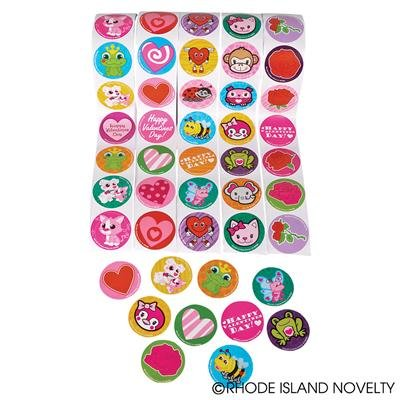 "5 Rolls ~ Valentine Stickers ~ 100 Stickers Per Roll ~ 500 Stickers Total ~ Approx. 1.5"" ~ New / Shrink-wrapped ~ Hearts, Animals, More"