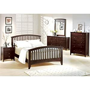 Jana wood bedroom set in espresso by yt for Bedroom furniture amazon